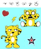 Cute tiger funny expressions cartoon set Royalty Free Stock Photos