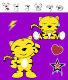Cute tiger funny expressions cartoon set2 Royalty Free Stock Images