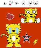 Cute tiger funny expressions cartoon set3 Stock Image