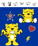 Cute tiger funny expressions cartoon set6 Stock Photo