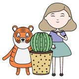 Cute tiger and girl with exotic cactus in ceramic pot. Vector illustration design stock illustration