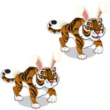 Cute tiger in hat with hare ears. Vector animals Stock Image
