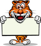 Cute Tiger holding sign. Cute Tiger holding up sign.Separated into layers for easy editing Royalty Free Stock Image
