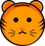 Cute tiger icon and smiley royalty free illustration