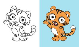 Cute Tiger Say Hello Vector Cartoon. For Coloring Book or Page, Preschool and Children Stock Photo