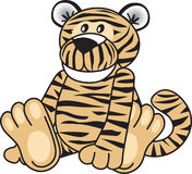 Cute tiger sitting. Cute child's tiger toy sitting vector illustration