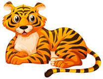 Cute tiger sitting on white background. Illustration Royalty Free Stock Photos