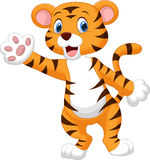 Cute tiger waving hand. Illustration of Cute tiger waving hand Stock Photography