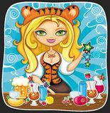 Cute tigress bartender. Vector illustration of cute bartender girl wearing costume of Tiger (symbol of 2010 year), serving different drinks at New year party Stock Photo