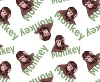 Cute tiny monkey and textile printing variants, gift paper printing patterns, animal picture and writings, pattern, fabric pattern stock image
