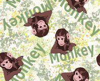 Cute tiny monkey and textile printing variants, gift paper printing patterns, animal picture and writings, pattern, fabric pattern royalty free stock image