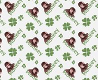 Cute tiny monkey and textile printing variants, gift paper printing patterns, animal picture and writings, pattern, fabric pattern stock images