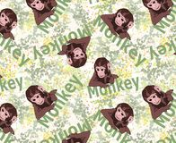Cute tiny monkey and textile printing variants, gift paper printing patterns, animal picture and writings, pattern, fabric pattern stock photos
