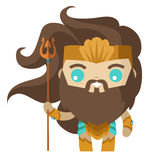 Cute tiny poseidon neptune god of the sea Royalty Free Stock Photo