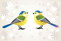 Cute tit birds in spring Stock Image