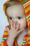 Cute Toddler. Image of cute toddler wearing a hooded jacket Royalty Free Stock Image
