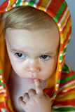 Cute Toddler. Image of cute toddler wearing a hooded jacket Royalty Free Stock Photography