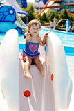 Cute toddler in aqua park Royalty Free Stock Photography