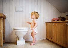 Cute toddler boy in the bathroom. Cute toddler in the bathroom. Little boy standing by the toilet stock images