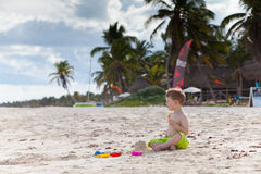 Cute toddler boy on a Caribbean beach Royalty Free Stock Image
