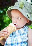 Cute toddler boy eating ice cream Royalty Free Stock Photo