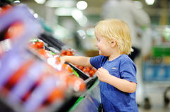 Cute toddler boy in a food store or a supermarket choosing fresh tomatoes Stock Photos