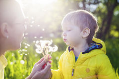 Cute toddler boy and his mother Royalty Free Stock Photography