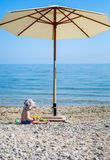 Cute toddler boy playing on the beach Stock Image