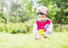 Cute toddler boy plucks flowers Royalty Free Stock Photo