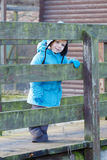 Cute toddler boy walking on wooden bridge Stock Photography