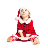 Cute Toddler in Christmas Santa Hat Royalty Free Stock Photos