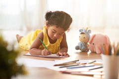 Cute Toddler Coloring Picture Royalty Free Stock Images