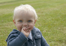 Cute toddler with finger in mouth Stock Image
