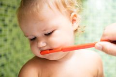 Cute toddler girl brushing her teeth in the bathroom. Cute baby sitting in the sink. Dad helps to brush the child teeth stock images