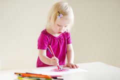 Cute toddler girl drawing with colorful pencils Royalty Free Stock Photo