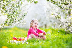 Cute toddler girl eating apple in a blooming garden Stock Photo
