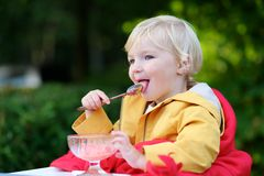 Free Cute Toddler Girl Eating Ice Cream Outdoors In Cafe Stock Photography - 44140212