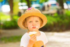 Cute Toddler Girl Eating Ice-Cream Royalty Free Stock Images
