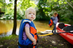Cute toddler girl getting ready for kayaking Stock Photography