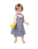 Cute toddler girl with green apple Stock Photography