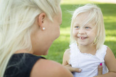 Cute Toddler Girl Having Fun With Her Mother Outdoors Royalty Free Stock Image