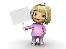 Cute toddler girl holding blank sign. Stock Images