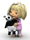 Cute toddler girl holding panda bear. Royalty Free Stock Photos