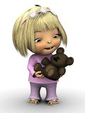 Cute toddler girl holding teddy bear. Royalty Free Stock Photo