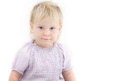 Cute toddler girl over white Stock Images