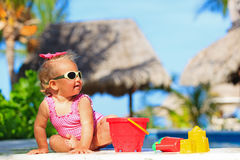 Cute toddler girl playing in swimming pool Stock Photos