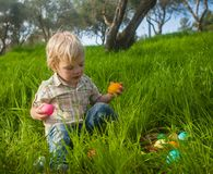 Cute toddler picking eggs Royalty Free Stock Photo