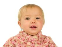 Cute toddler in pink pullover. Isolated on white Stock Photos