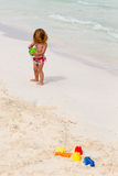 Cute Toddler Playing by the Beach Stock Photography