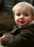 Cute toddler in winter coat Royalty Free Stock Photos